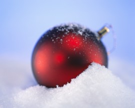 Red Christmas Tree Ornament in Snow